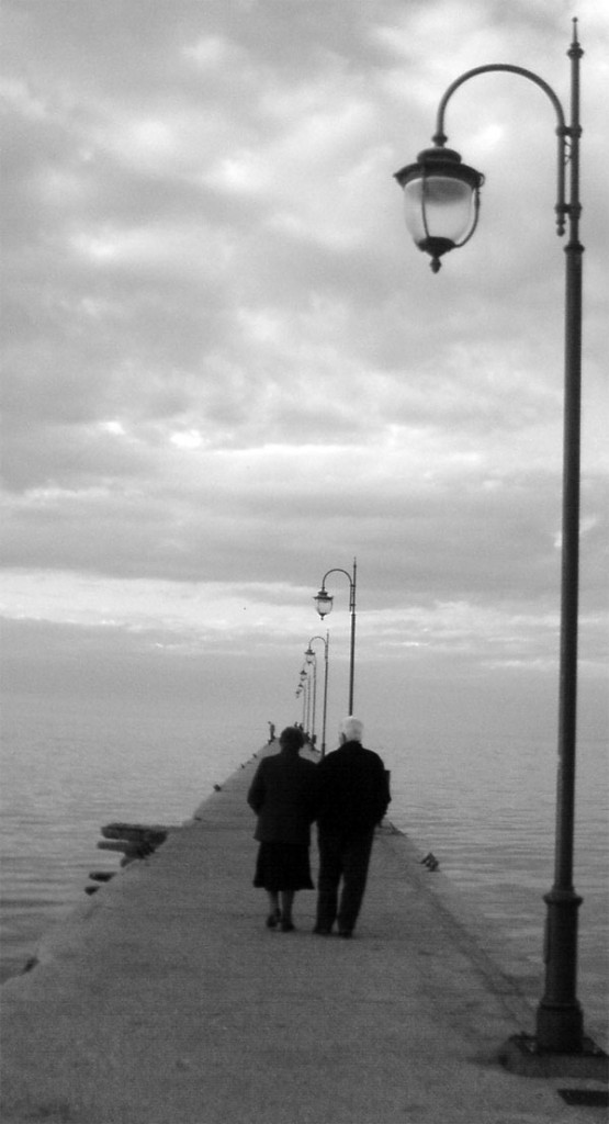 old couple dock walking love
